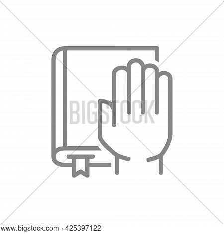 Hand On The Book Line Icon. Bible, An Oath, Promise Symbol
