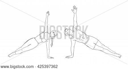 Woman And Man In Side Plank Pose. Yogi Couple In Vasisthasana Isolated In White Background. Sketch V