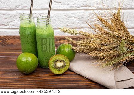 Refreshing Summer Green Smoothie Or Milkshake. Vegetarian Healthy Green Smoothie From Avocado, Spina