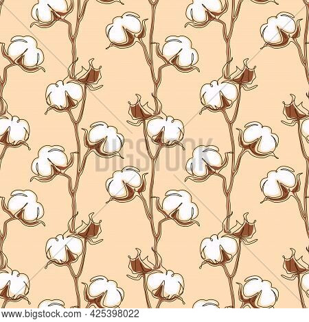 Cotton Flower Seamless Pattern In One Continuous Line Drawing. White Blossom Ball In Sketch Doodle S