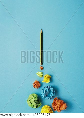 Launching Pencil Rocket With Jet Stream Of Paper Balls, Creativity Concept Or New Ideas Metaphor, St