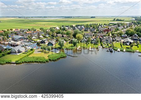 Aerial from the village Oudega in Friesland the Netherlands