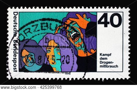ZAGREB, CROATIA - AUGUST 28, 2014: A stamp printed in Germany shows Drug Abuse Campaign to Fight Drug and Intoxicant Abuse, circa 1975