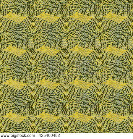 Hand Drawn Boho Seamless Background. Abstract Dotted Shapes Natural Ethnic Seamless Textile And Fabr