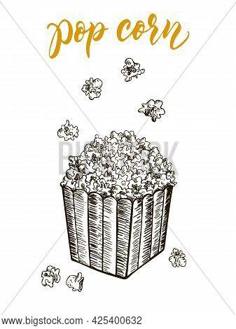 Pop Corn Sketch Vector Illustration. Fast Food Delicious Corn Icon For Restaurant Menu, Apparel Desi