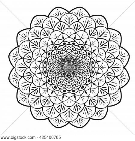 Black  Mandala On A White Background Symmetrical Like A Flower Or A Star In The Sky, Oriental Patter