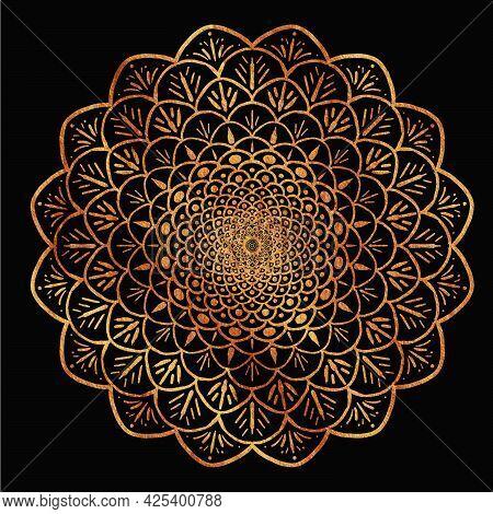 Gold Mandala On A  Black Background Symmetrical Like A Flower Or A Star In The Sky, Oriental Pattern