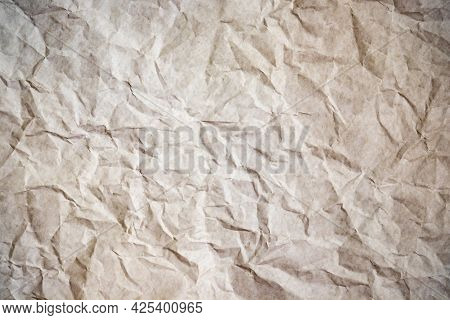 Crumpled Paper Texture Background, Old Creased Paper.