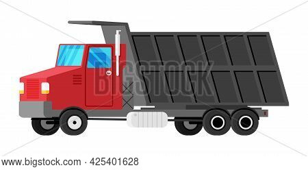 Tipper Truck Isolated On White. Lorry Side View. Dump Car Icon. Vehicle Children Toy. Truck For Deli