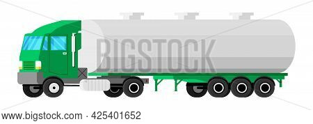 Truck Trailer Isolated On White. Car Tanker Icon. Fuel, Gas Or Liquid Tanker Truck. Vehicle Children