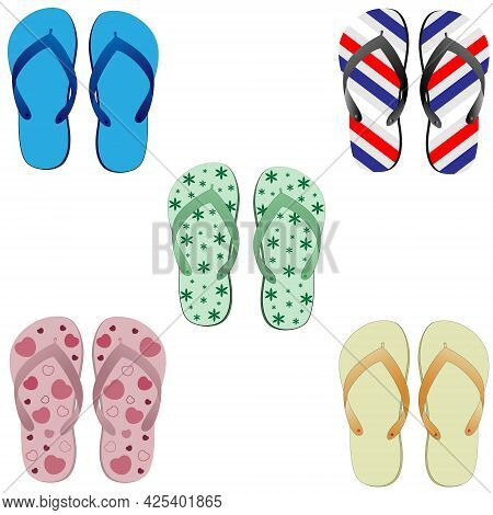 Vector Set Of Colored Slippers. Summer Beach Slippers. Beach Shoes Isolated On White Background