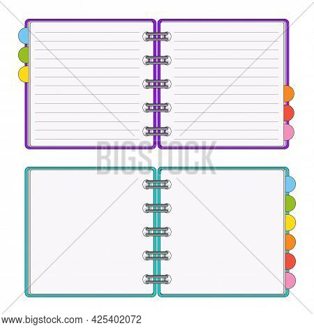 Open Notepad For Notes. Subject In The Office, At Home. Vector Illustration Isolated On White Backgr