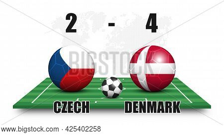 Czech Vs Denmark . Soccer Ball With National Flag Pattern On Perspective Football Field . Dotted Wor