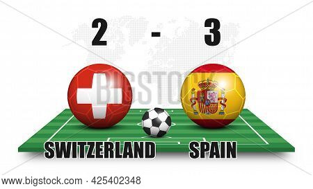 Switzerland Vs Spain . Soccer Ball With National Flag Pattern On Perspective Football Field . Dots W