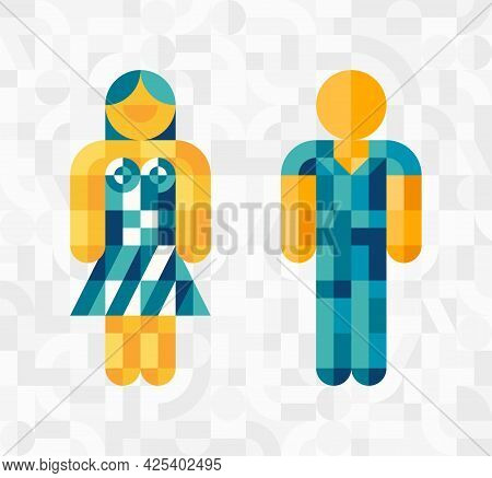 Man And Woman Avatar Icons. Vector Template With Simple Shapes, Mosaic Background. Male And Female G