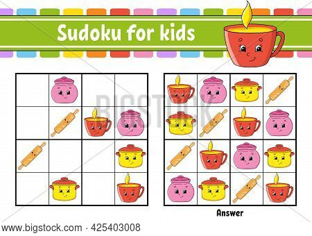 Dishware Theme. Sudoku For Kids. Education Developing Worksheet. Cartoon Character. Color Activity P