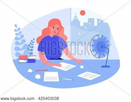 Sad Woman Sitting At Table And Writing. Sheets Of Paper On Desk, Crumpled Paper, Anxious Female Char