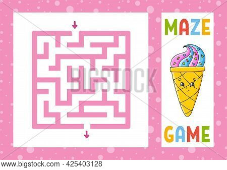 Square Maze. Game For Kids. Puzzle For Children. Happy Character. Labyrinth Conundrum. Color Vector