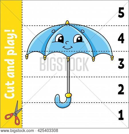 Learning Numbers 1-5. Cut And Play. Education Worksheet. Game For Kids. Color Activity Page. Puzzle