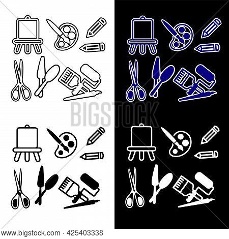 Vector Illustration Of Icons With Attributes Of The Artist. Isolated Image Of Characters With Art Su