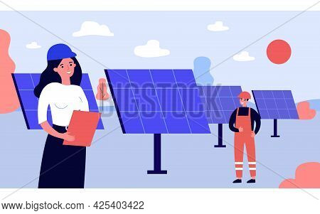 Electricians Installing Solar Panels In Field. Professional Cartoon Technicians Setting Up Renewable