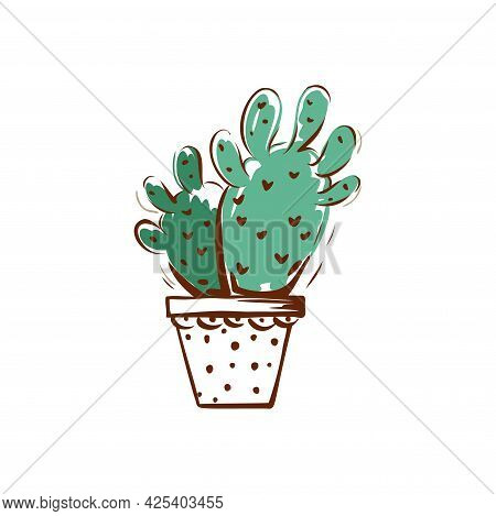 A Pot With A Cactus Drawn. Home Decor. Vector Illustration.