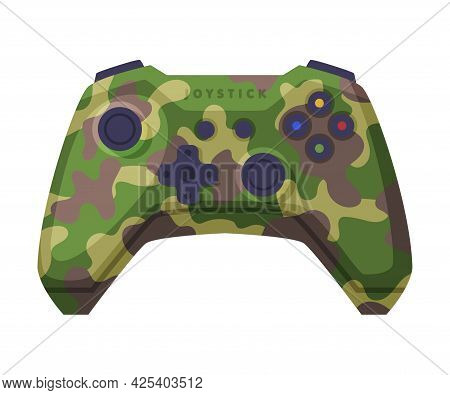 Video Game Console Controller In Military Colors, Joystick Of Modern Game Console Cartoon Vector Ill