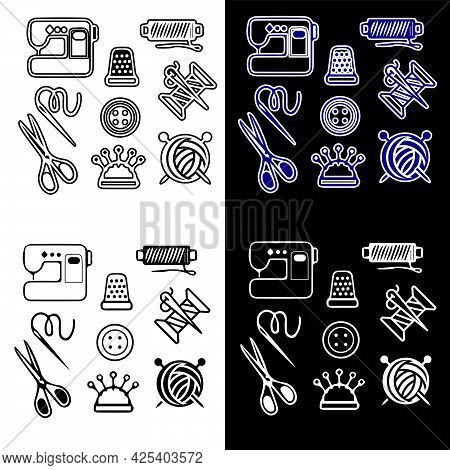 Vector Illustration Of Icons With Attributes For A Seamstress. Isolated Image Of Icons With Items Fo
