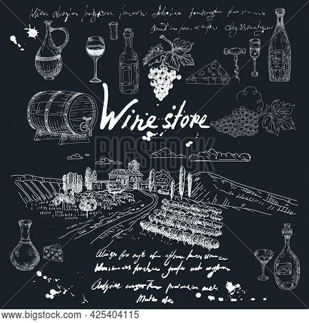 Collection Wine Store Products And Vineyard Hand Drawn Scetch. Grapes, Wooden Barrel, Bottles, Chees
