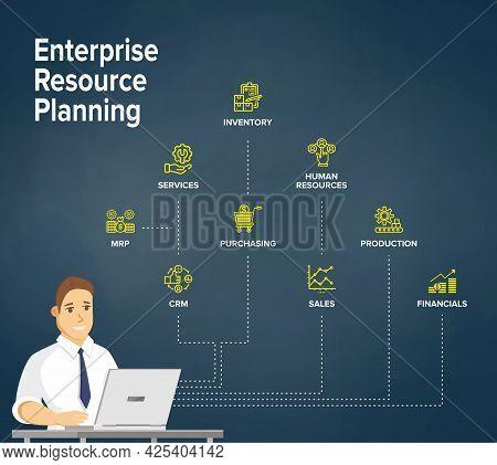 Erp - Enterprise Resource Planning Concept/ Flowchart. Businessman Work On Laptop With Erp Managemen