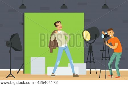 Man Photographer Shooting With Professional Camera And Light Vector Illustration