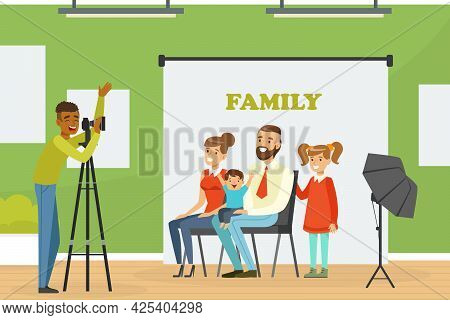 Family Members Sitting In Front Of Photographer With Professional Camera Vector Illustration