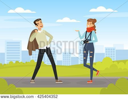 Man Posing In Front Of Female Photographer With Professional Camera Vector Illustration