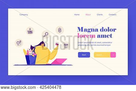Happy Woman With Laptop Ordering Food. Female With Credit Card In Hand Shopping Online Flat Vector I
