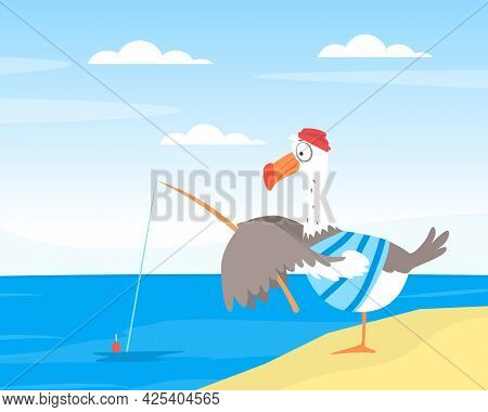 Funny Seagull Character With Fishing Rod On Sea Shore Vector Illustration