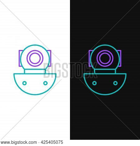 Line Aqualung Icon Isolated On White And Black Background. Diving Helmet. Diving Underwater Equipmen