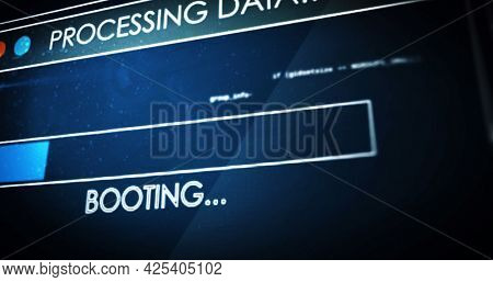 Image of processing data text digital interface flickering on screen. global connections, data processing, computing and digital interface concept digitally generated image.