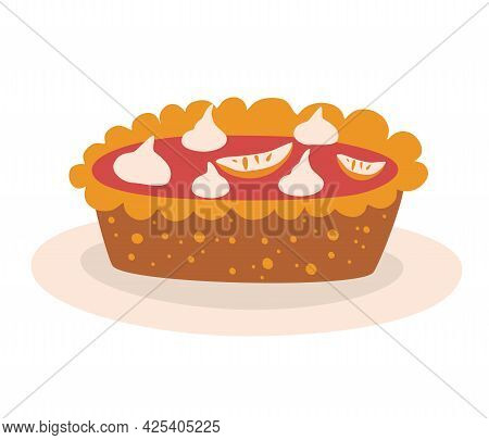 Pumpkin Pie. Tasty Pie With Whipped Cream On A Plate. Thanksgiving Dinner. Traditional Autumn Cake.