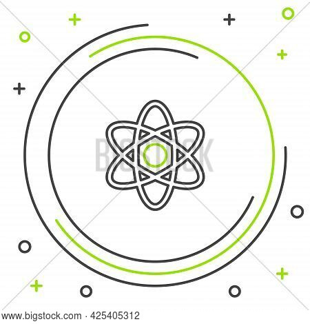 Line Atom Icon Isolated On White Background. Symbol Of Science, Education, Nuclear Physics, Scientif