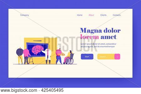 Doctors Or Scientists Studying Patients With Alzheimer Brain Disease. Vector Illustration For Neurol