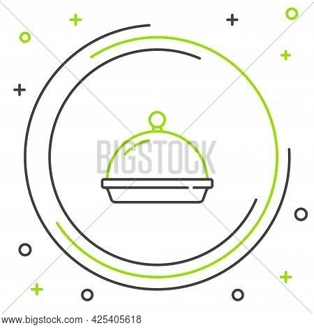 Line Covered With A Tray Of Food Icon Isolated On White Background. Tray And Lid. Restaurant Cloche