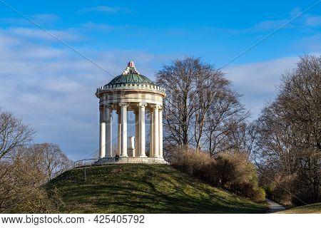 Munich, Germany - Oct 01, 2020: Monopteros - Greek Style Temple In Englischer Garten. Munich In Germ
