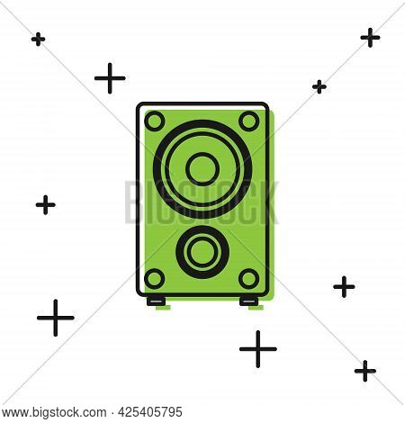 Black Stereo Speaker Icon Isolated On White Background. Sound System Speakers. Music Icon. Musical C