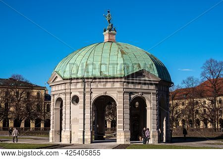 Munich, Germany - Jan 10, 2021: Hofgarten Park With Dianatempel In Munich. The Diana Pavilion And Th