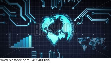 Image of scope scanning, processor elements, globe and data processing over grid. digital interface and global connection concept digitally generated image.