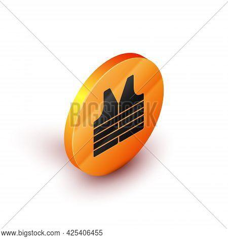 Isometric Life Jacket Icon Isolated On White Background. Life Vest Icon. Extreme Sport. Sport Equipm