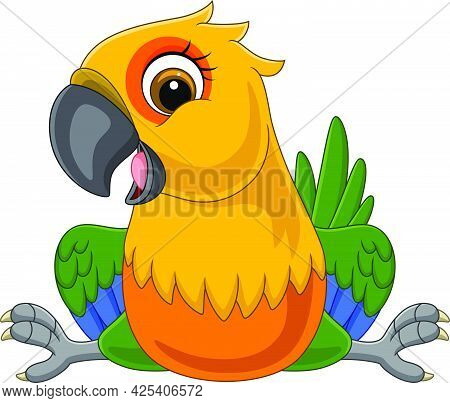 Vector Illustration Of Cartoon Funny Macaw Sitting On White Background