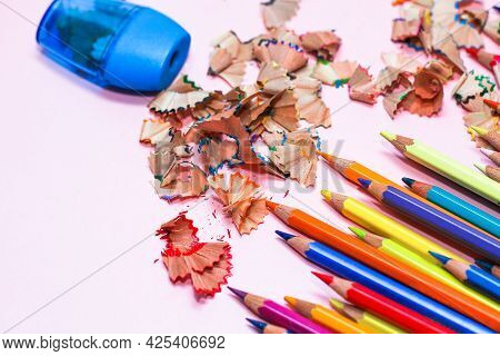 Multi-colored Drawing Professional Pencils With A Sharpener.