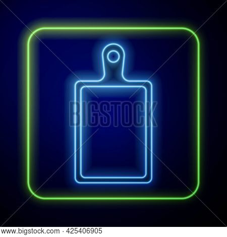 Glowing Neon Cutting Board Icon Isolated On Blue Background. Chopping Board Symbol. Vector