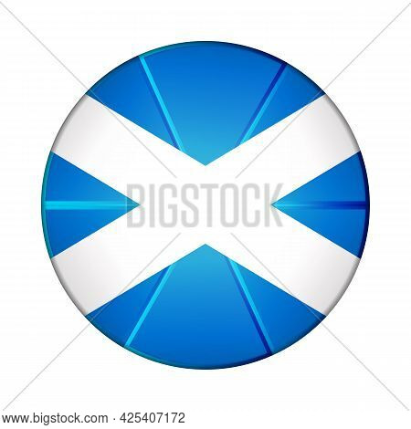 Glass Light Ball With Flag Of Scotland. Round Sphere, Template Icon. Scottish National Symbol. Gloss